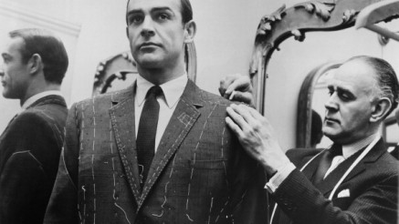 Tailor Anthony Sinclair fitting Scottish actor Sean Connery for one of the suits he will wear in the film 'From Russia With Love', Mayfair, London, 1963. (Photo by United Artists/Archive Photos/Getty Images)